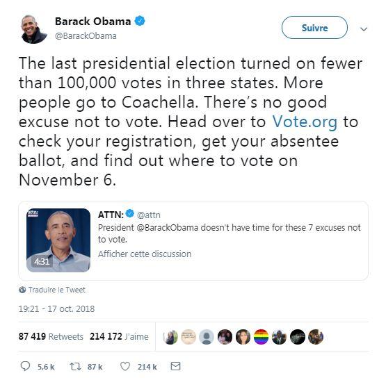 Capture d'écran réalisée le 19 octobre 2018 d'un tweet de Barack Obama