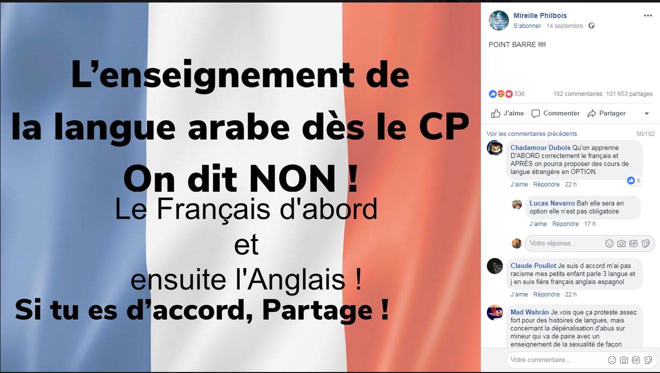 Une capture d'écran d'une publication Facebook, le 9 octobre 2018