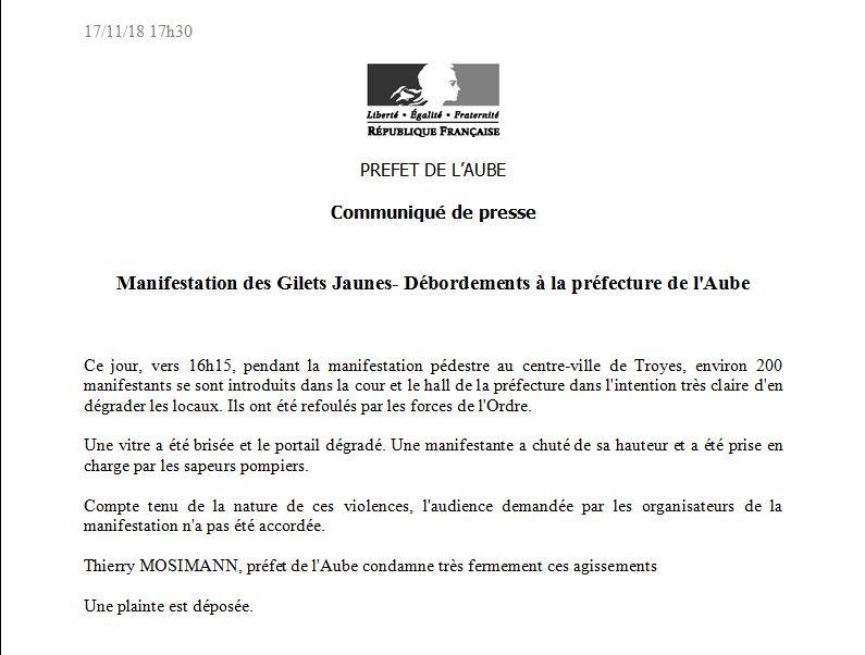 Communiqué de presse de la préfecture de l'Aube, daté du 17/11/18