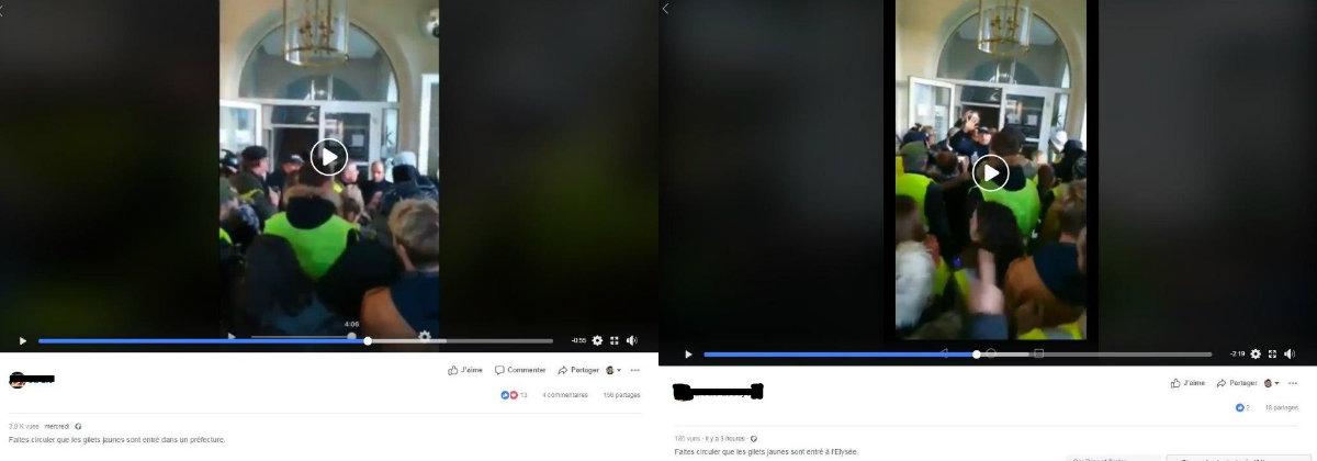 Montage de deux captures d'écran relayant la vidéo, l'une l'accompagnant d'une légende correcte, l'autre d'une légende trompeuse