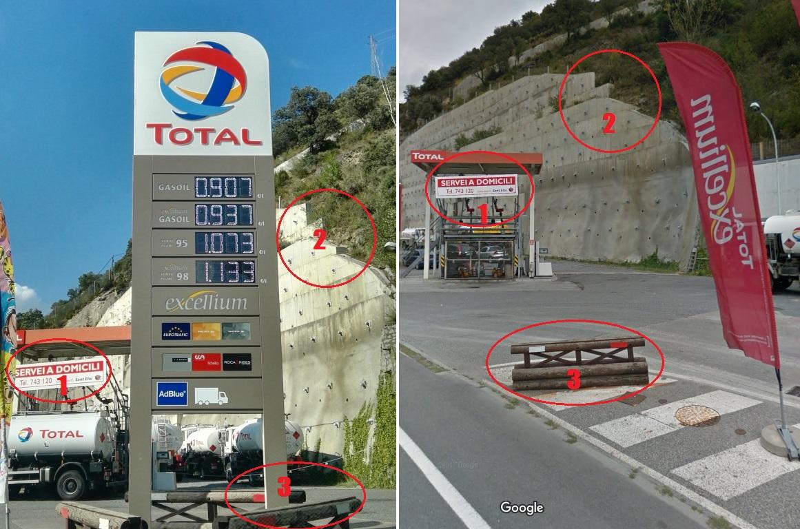 Comparaison de la photo de la station service et de la vue Google Maps