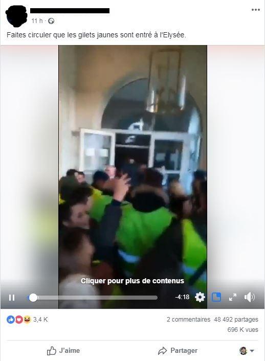 Capture d'écran réalisée le 22/11/2018 d'un post Facebook relayant la vidéo