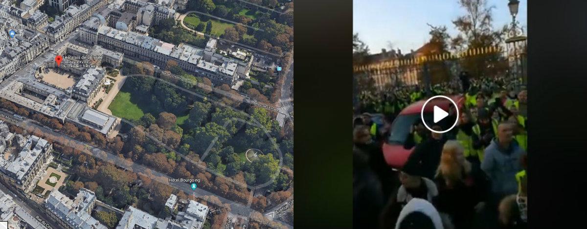 Montage entre une capture d'écran de l'Elysée sur Google Maps et une capture d'écran réalisée le 22/11/2018 d'un post Facebook relayant la vidéo