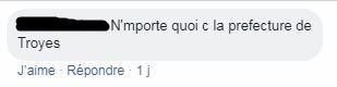 Capture d'écran réalisée le 22/11/2018 d'un commentaire sur Facebook critiquant la légende de la vidéo