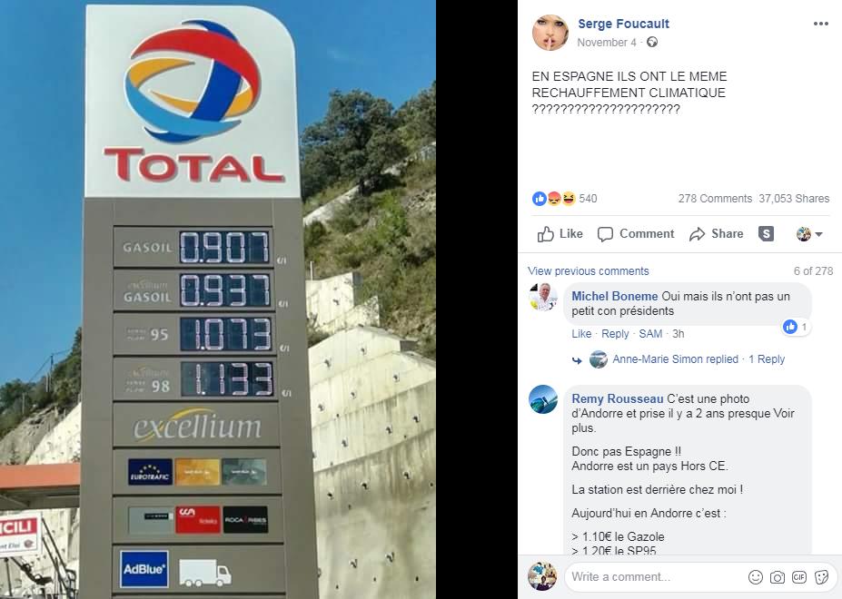 Capture d'écran de la page Facebook de Serge Foucault réalisée le 07/11/2018