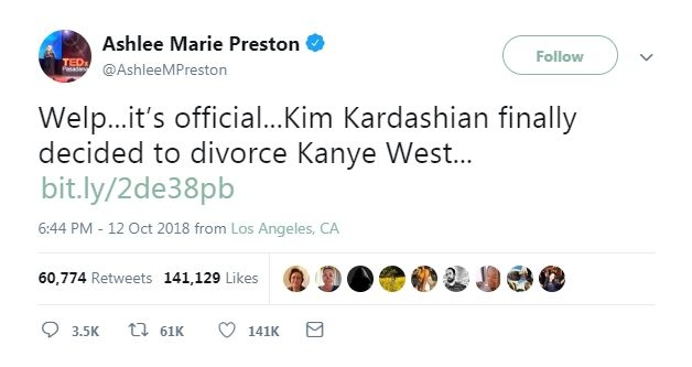 Screenshot taken October 18, 2018 of Ashlee Marie Preston's viral tweet