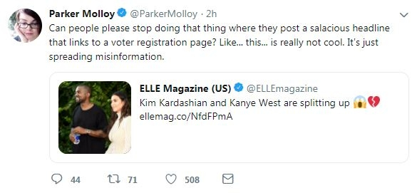Screenshot taken October 18, 2018 of Parker Molloy's tweet