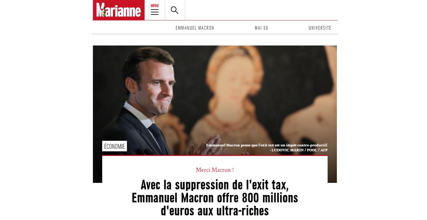 L'article de Marianne affirme que l'exit tax rapporte 800 millions d'euros.