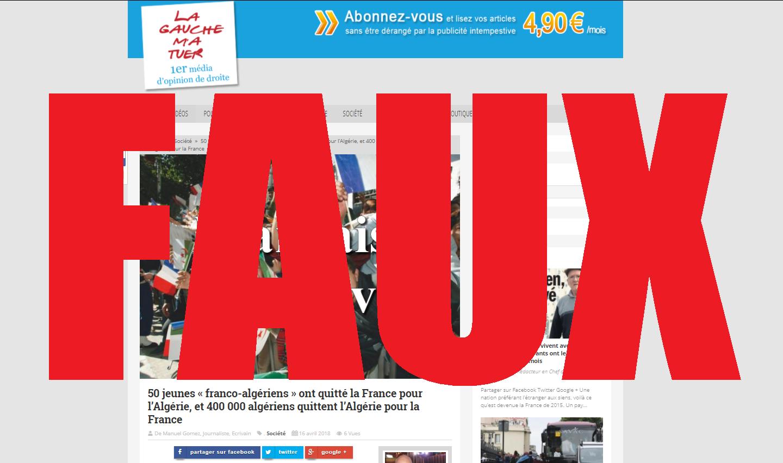 Capture d'écran du site La gauche m'a tuer, le 25 avril 2018
