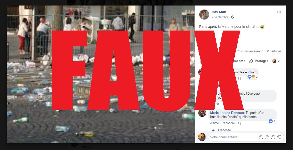 Une capture d'écran d'une publication Facebook erronée, le 11 septembre 2018