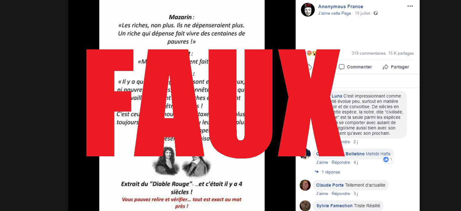 La publication d'Anonymous France a reçu 15.000 partages et plus de 300 commentaires.