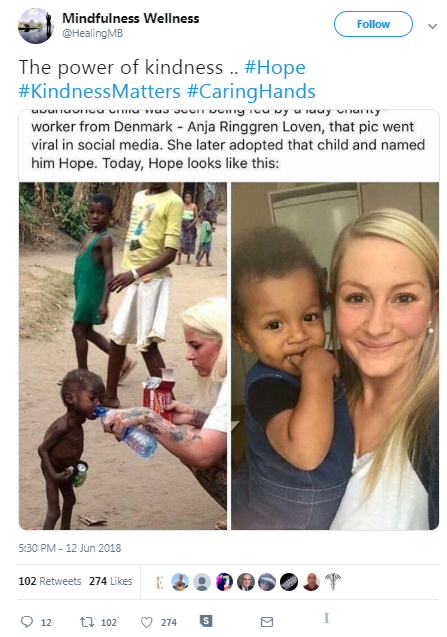 Screenshot of the Facebook post claiming to show how a malnourished Nigerian boy significantly transformed after he was adopted by a Danish aid worker