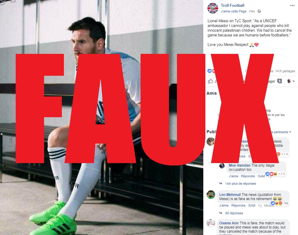 "Une capture d'écran de la page Facebook ""Troll Football"", jeudi 7 juin 2018"