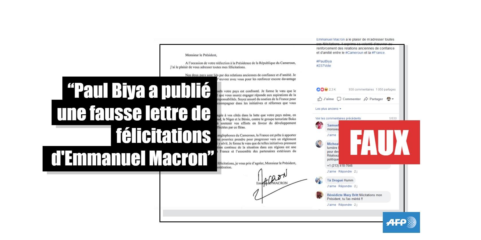 Capture d'écran du compte Facebook du président camerounais Paul Biya