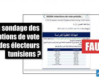 Un sondage des intentions de vote des électeurs tunisiens ? Faux