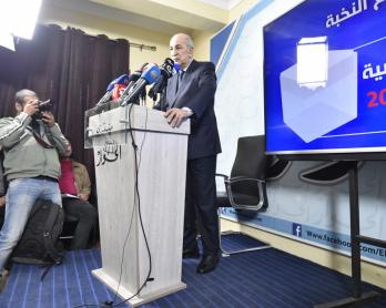 Le candidat à la présidentielle Abdelmadjid Tebboune en campagne à Alger, 24 novembre 2019.