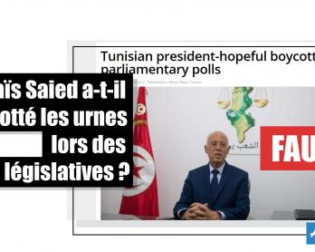 Kaïs Saied a-t-il boycotté les urnes lors des législatives ? Faux / Capture d'écran d'un article de Middle East Monitor réalisée le 7 octobre 2019.