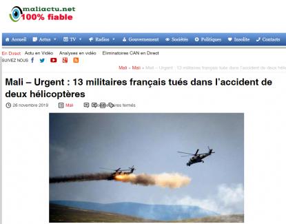 Crash d'hélicoptères au Mali : l'Etat Islamique revendique la mort des soldats français