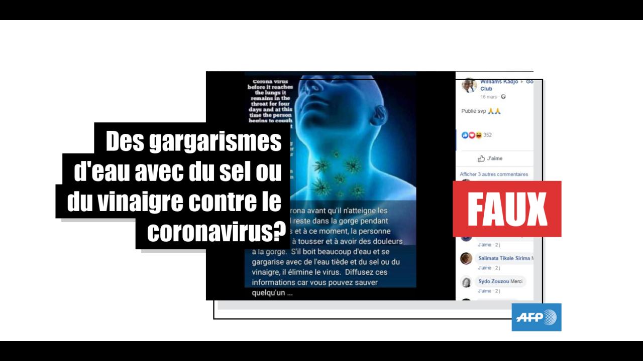 Non, des gargarismes d'eau tiède mélangée à du sel ou du vinaigre ne soignent pas le coronavirus