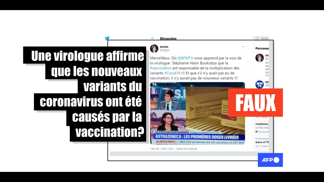 Non, une virologue n'a pas affirmé sur BFMTV que les vaccins sont à l'origine des variants du coronavirus - AFP Factuel