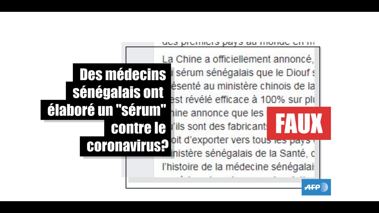 Non, des médecins sénégalais n'ont pas découvert de traitement contre le coronavirus