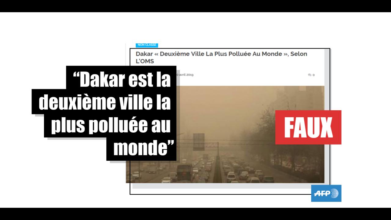 Dakar figure parmi les villes les plus polluées au monde, mais n'est pas en seconde position du classement